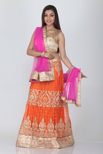 UNSTITCH ORANGE COLOUR EMBROIDERED NET LEHENGA WITH CONTRASTING BRIGHT RANI COLOUR CHIFFON DUPATTA