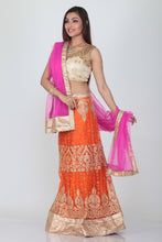 Load image into Gallery viewer, UNSTITCH ORANGE COLOUR EMBROIDERED NET LEHENGA WITH CONTRASTING BRIGHT RANI COLOUR CHIFFON DUPATTA