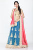 UNSTITCH BLUE COLOUR LEHENGA WITH CONTRASTING ZARI-THREAD EMBROIDERY