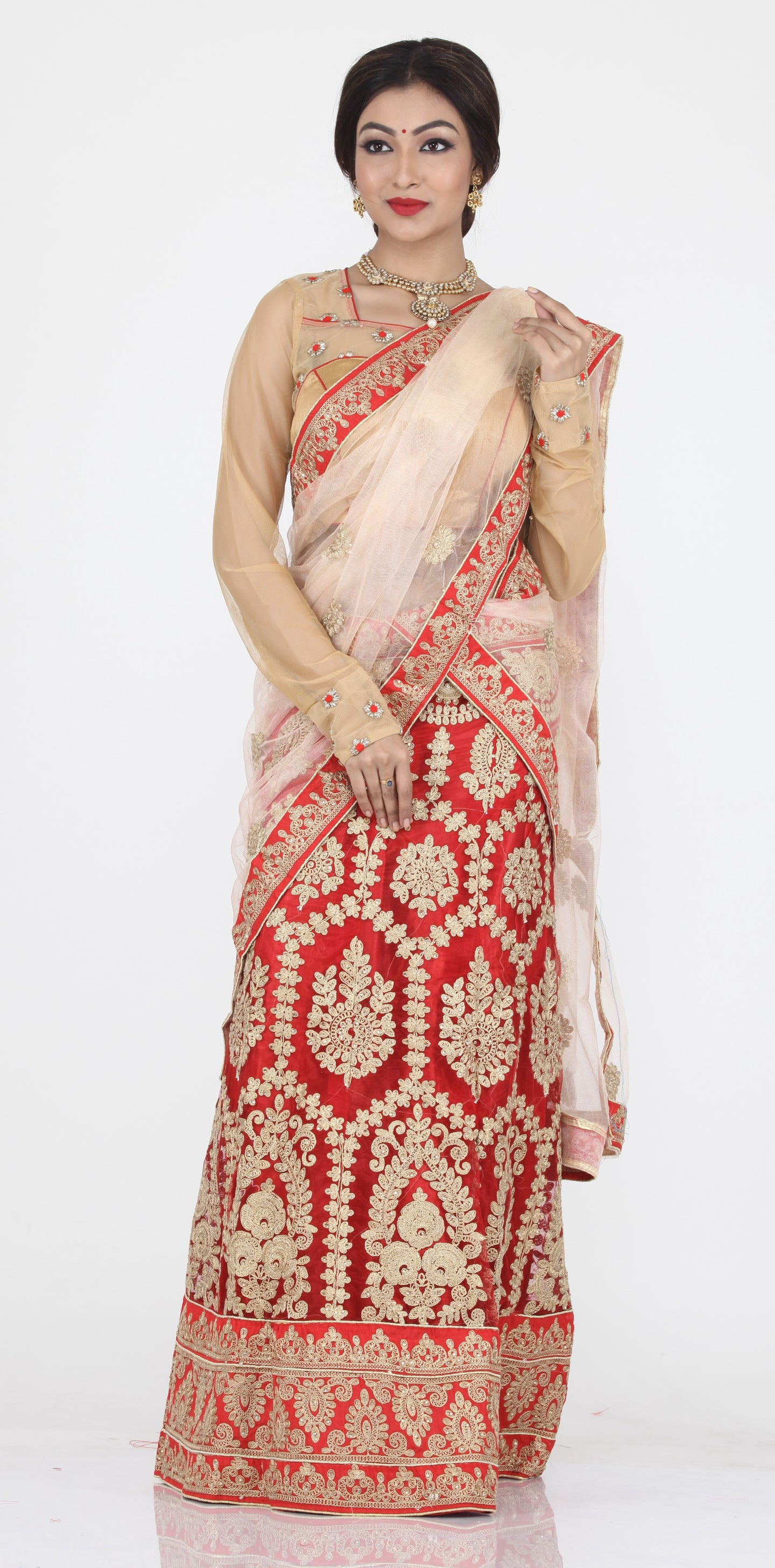UNSTITCH RED COLOUR NET LEHENGA WITH CONTRASTING ZARI WORK