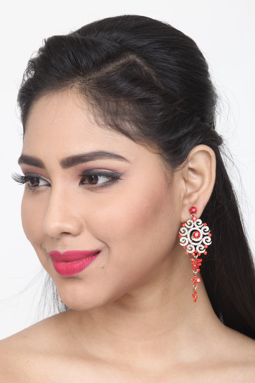 RED COLOUR BEAUTIFUL STONE EARRING