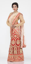 Load image into Gallery viewer, UNSTITCH RED COLOUR NET LEHENGA WITH CONTRASTING ZARI WORK