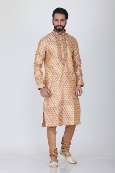 BEIGE COLOUR SILK JACQUARD EMBROIDERED KURTA PYJAMA SET