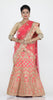 PINKISH PEACH COLOUR DUPION SILK LEHENGA WITH CONTRASTING SELF ZARI WORK