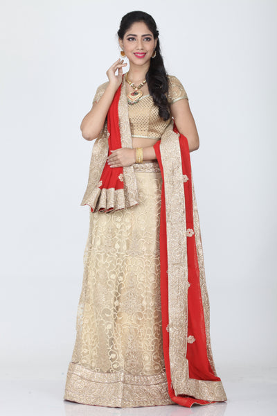 UNSTITCH BEIGE COLOUR NET EMBROIDED LEHENGA WITH CONTRASTING RED DUPATTA