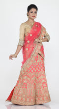 Load image into Gallery viewer, PINKISH PEACH COLOUR DUPION SILK LEHENGA WITH CONTRASTING SELF ZARI WORK