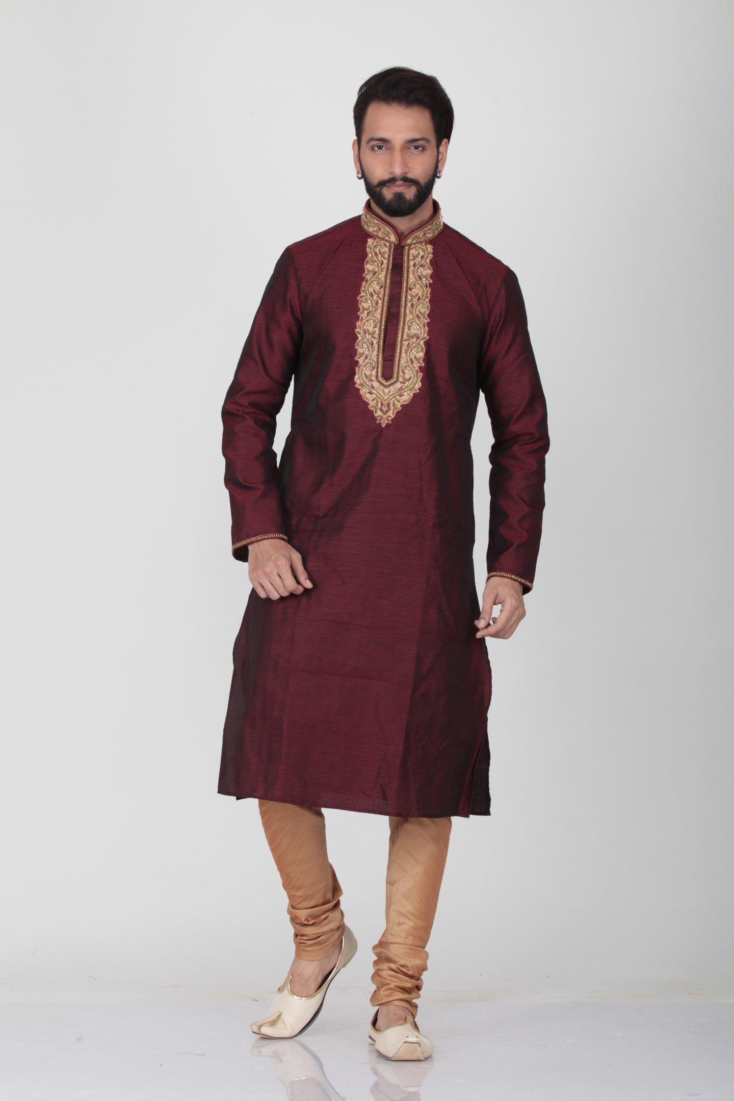 MAROON COLOUR SILK EMBROIDERED SELF KURTA PYJAMA SET