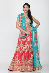 UNSTITCH PEACH COLOUR LEHENGA WITH CONTRASTING ZARI-THREAD EMBROIDERY