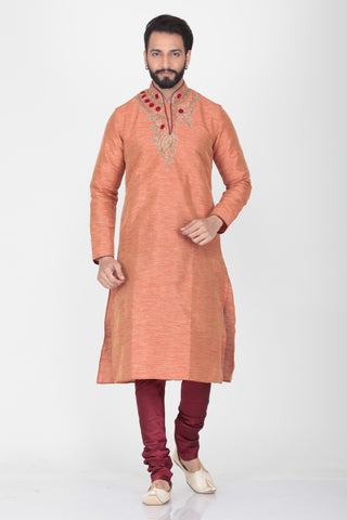 PEACH COLOUR SILK FABRIC EMBROIDERED KURTA PYJAMA SET