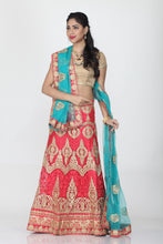 Load image into Gallery viewer, UNSTITCH PEACH COLOUR LEHENGA WITH CONTRASTING ZARI-THREAD EMBROIDERY