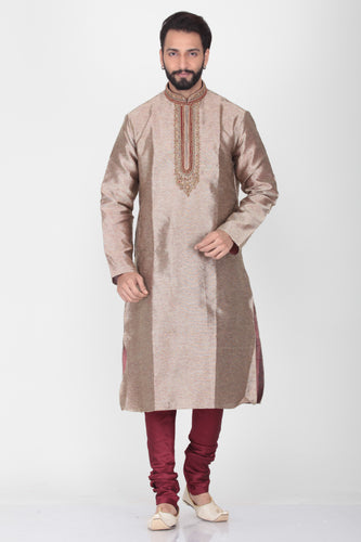 BEIGE COLOUR DUPION SILK EMBROIDERED KURTA PYJAMA SET