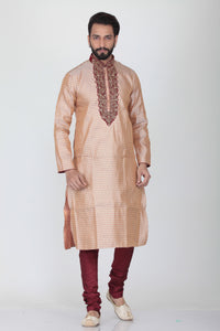 LIGHT PEACH COLOUR SILK JACQUARD KURTA PYJAMA SET