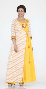 YELLOW COLOUR ONE PIECES LONG COTTON DRESS