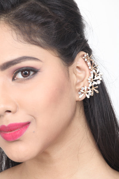 WHITE COLOUR GOLD-TONED EAR CUFF