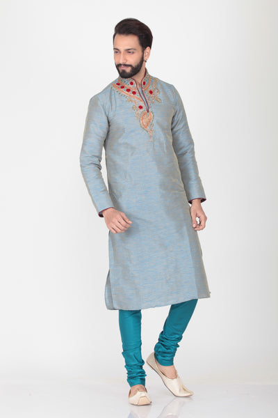 SKY COLOUR EMBROIDERED KURTA PYJAMA SET