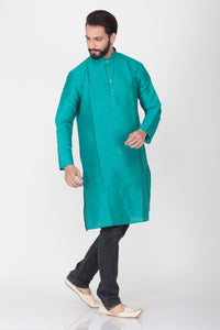 SEA-GREEN COLOUR DUPION SILK KNEE LENGTH KURTA