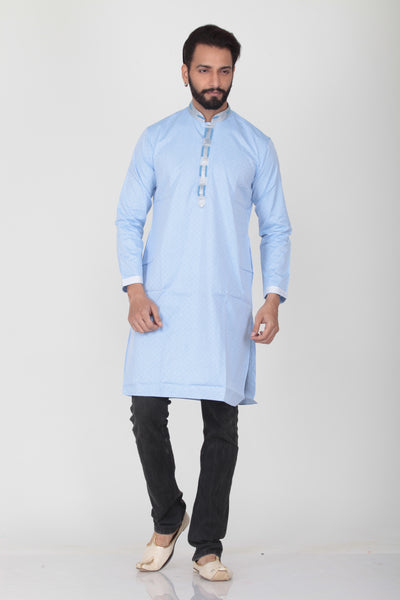 LIGHT SKY COLOUR COTTON KNEE LENGTH KURTA