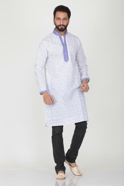 WHITE COLOUR COTTON PRINTED KNEE LENGTH KURTA