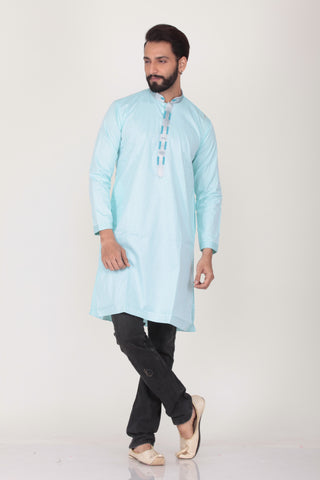 LIGHT GREEN COLOUR COTTON KNEE LENGTH KURTA