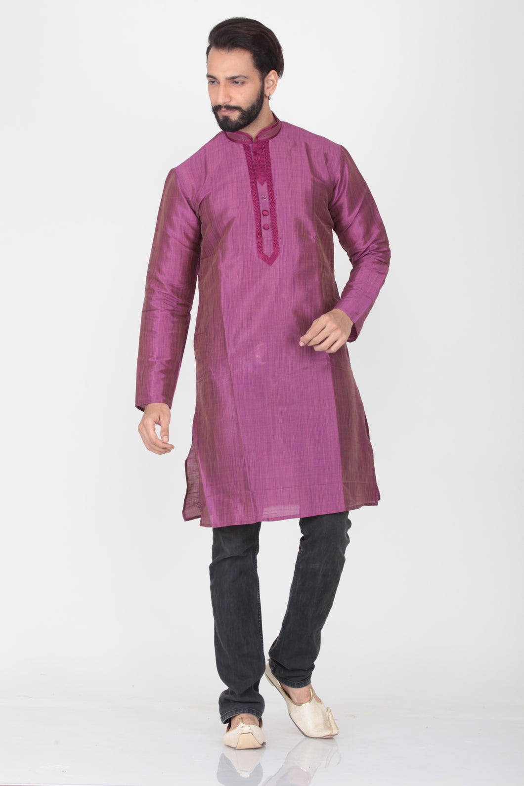 VIOLATE COLOUR DUPION SILK KNEE LENGTH KURTA