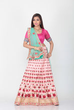 Load image into Gallery viewer, UNSTITCH PINK COLOUR DUPION SILK LEHENGA WITH CONTRASTING GREEN COLOUR DUPATTA