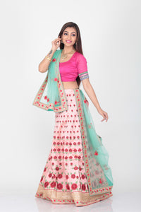 UNSTITCH PINK COLOUR DUPION SILK LEHENGA WITH CONTRASTING GREEN COLOUR DUPATTA
