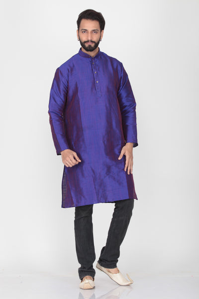 PURPLE COLOUR TWO TONED DUPION SILK KNEE LENGTH KURTA