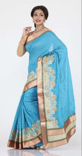 Load image into Gallery viewer, SKY COLOUR WOVEN CHANDERI SILK SAREE WITH CONTRASTING EMBROIDED BORBER