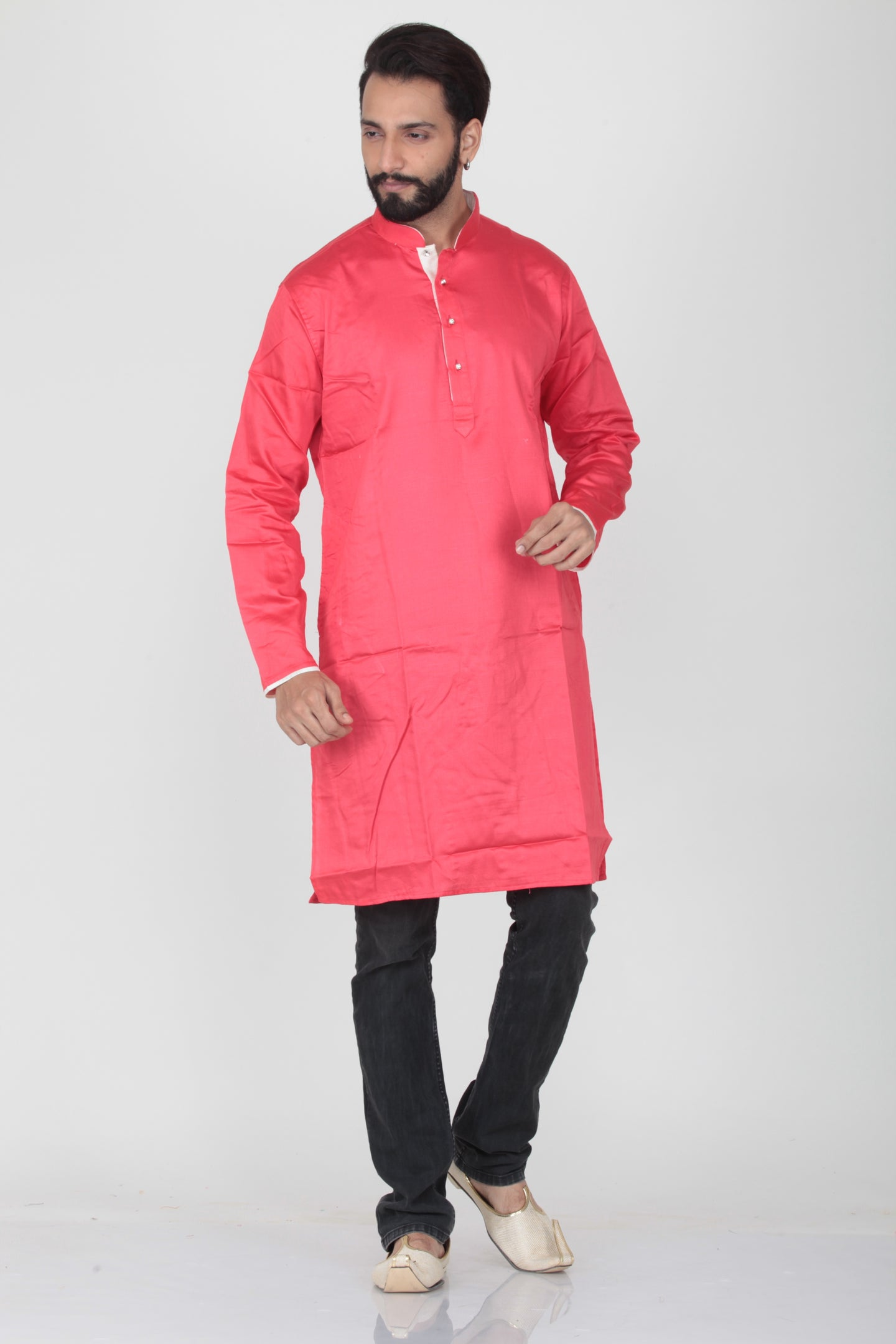 PINK COLOUR COTTON KNEE LENGTH KURTA