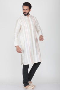 WHITE COLOUR DUPION SILK KNEE LENGTH KURTA