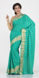 SEA-GREEN COLOUR SELF CHIFFON KHADDI SAREE