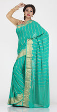 Load image into Gallery viewer, SEA-GREEN COLOUR SELF CHIFFON KHADDI SAREE