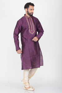 VIOLATE COLOUR THREAD WORK KURTA PYJAMA SET
