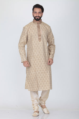 WHITE COLOUR SILK EMBROIDERED KURTA PYJAMA SET