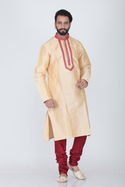 BEIGE COLOUR SILK KURTA PYJAMA SET