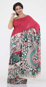RANI COLOUR HALF-N-HALF PRINTED KALAMKARI SILK SAREE