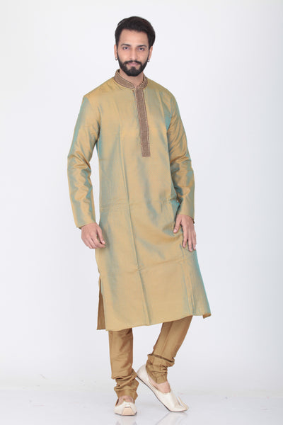 GREEN COLOUR TWO TONED SILK EMBROIDERED KURTA PYJAMA SET