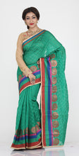 Load image into Gallery viewer, GREEN COLOUR WEAVING CHANDERI SILK SAREE WITH CONTRASTING ZARI SHIMMER BORDER