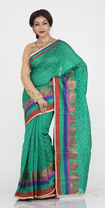 GREEN COLOUR WEAVING CHANDERI SILK SAREE WITH CONTRASTING ZARI SHIMMER BORDER