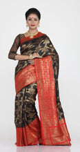 Load image into Gallery viewer, BLACK COLOUR GHICHA SILK SAREE WITH CONTRASTING RED COLOUR PALLU AND BORDER