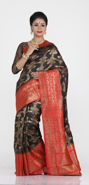 BLACK COLOUR GHICHA SILK SAREE WITH CONTRASTING RED COLOUR PALLU AND BORDER