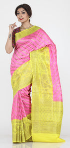 PINK COLOUR GHICHA SILK SAREE WITH CONTRASTING YELLOW COLOUR PALLU AND BORDER