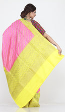 Load image into Gallery viewer, PINK COLOUR GHICHA SILK SAREE WITH CONTRASTING YELLOW COLOUR PALLU AND BORDER