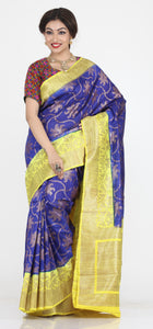 ROYAL BLUE COLOUR GHICHA SILK SAREE WITH CONTRASTING LEMON YELLOW PALLU AND BORDER