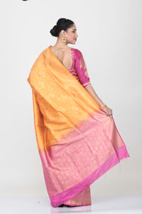 ORANGE COLOUR SHADED LIGHT WEIGHT  SILK SAREE WITH ALL OVER SELF WEAVING