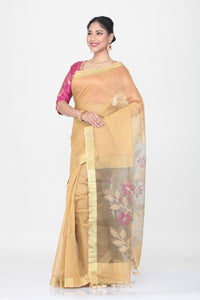 LIGHT BEIGE COLOUR SILK HANDLOOM SAREE WITH CONTRASTING FLORAL WEAVING ON PALLU