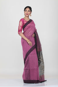VIOLATE COLOUR SILK HANDLOOM SAREE WITH CONTRASTING FLORAL WEAVING ON PALLU