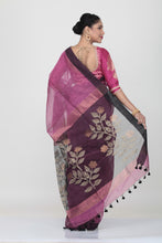 Load image into Gallery viewer, VIOLATE COLOUR SILK HANDLOOM SAREE WITH CONTRASTING FLORAL WEAVING ON PALLU