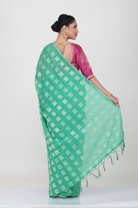 SEA-GREEN COLOUR LIGHT WEIGHT SILK HANDLOOM