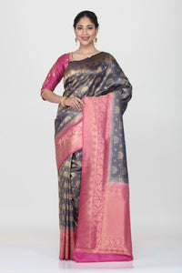 DARK BLUE COLOUR SILK SAREE WITH ALL OVER SELF WEAVING